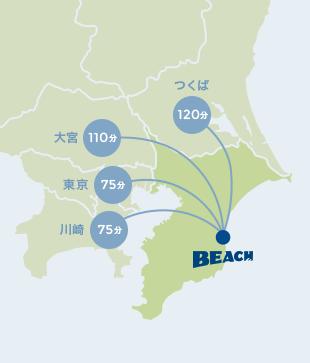 つくばから:120分、大宮から:110分、東京から:75分、川崎から:75分