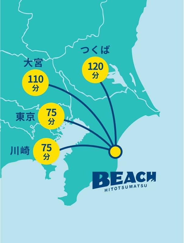 東京から 約75分、川崎から 約75分、大宮から 約110分、つくばから 約120分